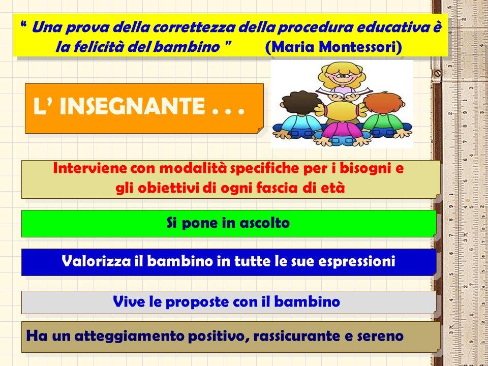 Una prova della correttezza della procedura educativa è la felicità del bambino (Maria Montessori)