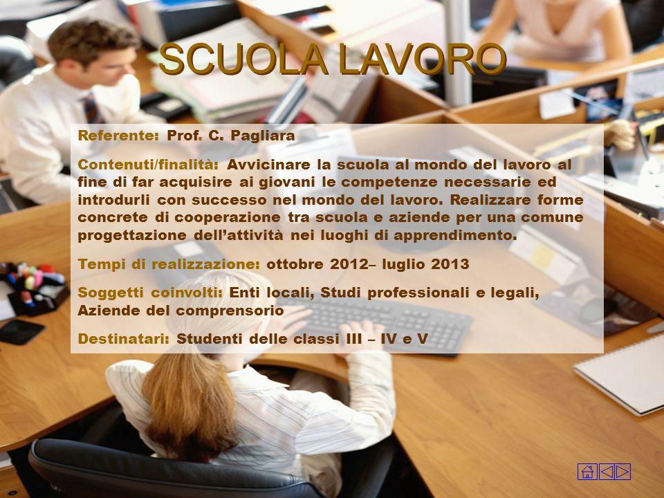 SCUOLA LAVORO Referente: Prof. C. Pagliara