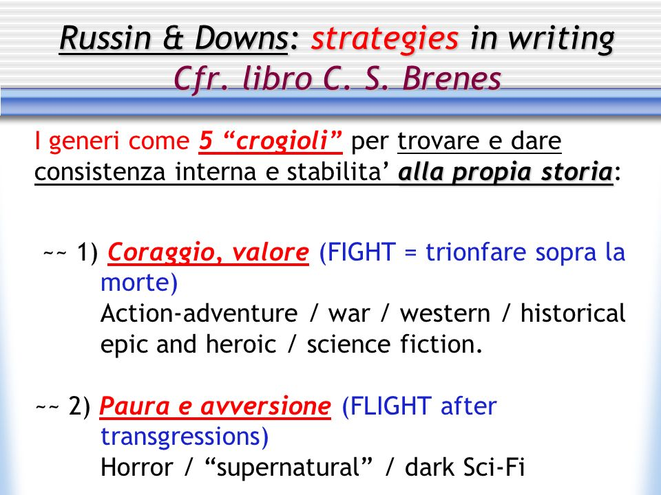 Russin & Downs: strategies in writing Cfr. libro C. S. Brenes