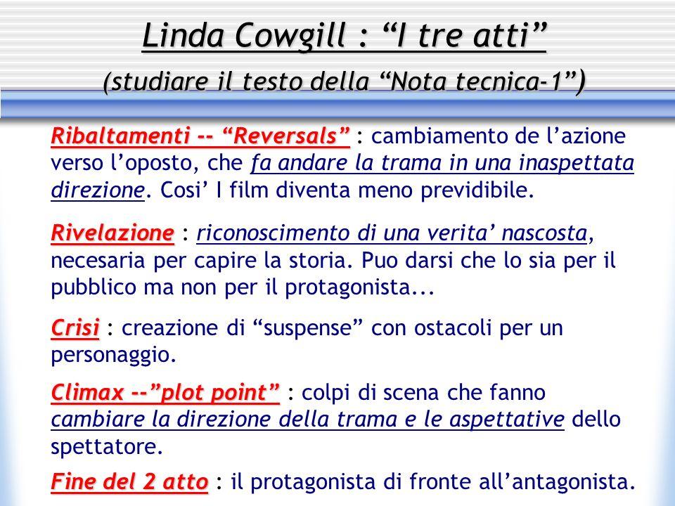 Linda Cowgill : I tre atti (studiare il testo della Nota tecnica-1 )