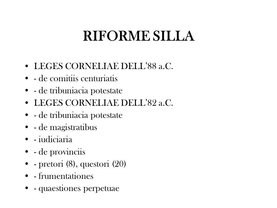 RIFORME SILLA LEGES CORNELIAE DELL'88 a.C. - de comitiis centuriatis