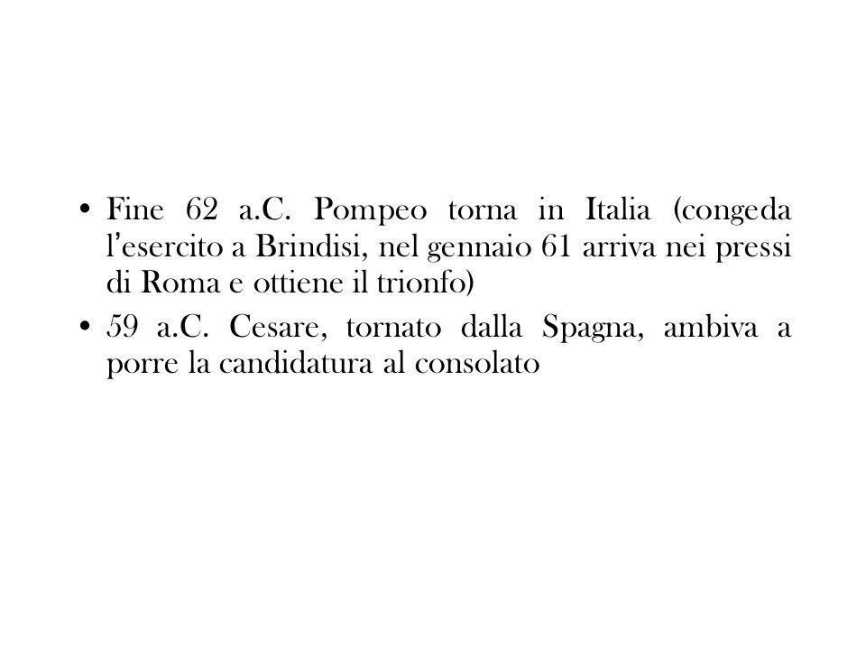 Fine 62 a.C. Pompeo torna in Italia (congeda l'esercito a Brindisi, nel gennaio 61 arriva nei pressi di Roma e ottiene il trionfo)