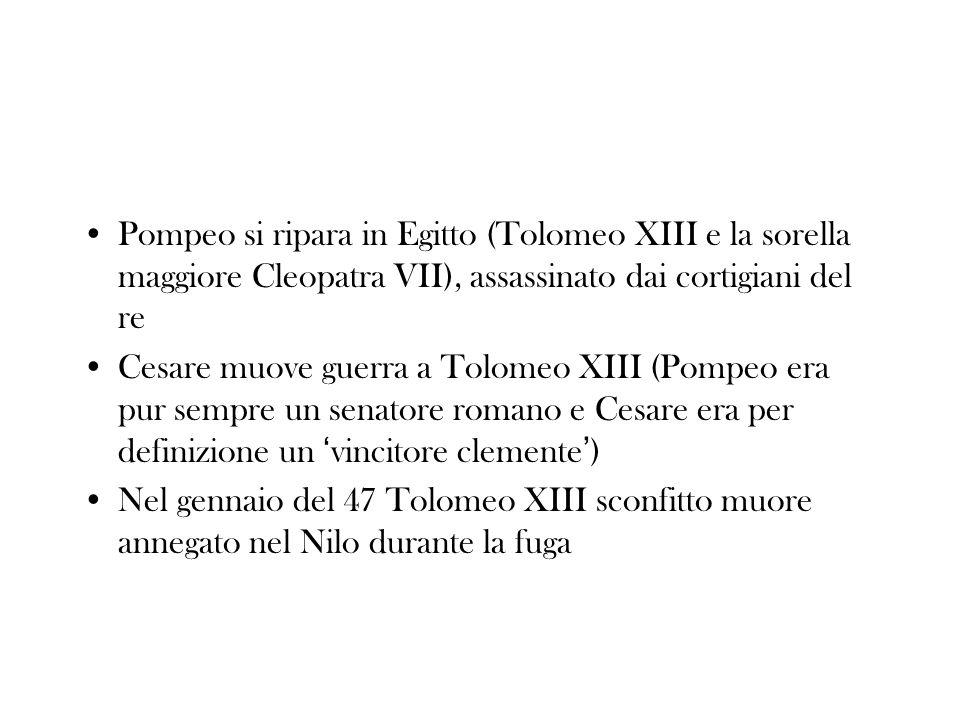 Pompeo si ripara in Egitto (Tolomeo XIII e la sorella maggiore Cleopatra VII), assassinato dai cortigiani del re
