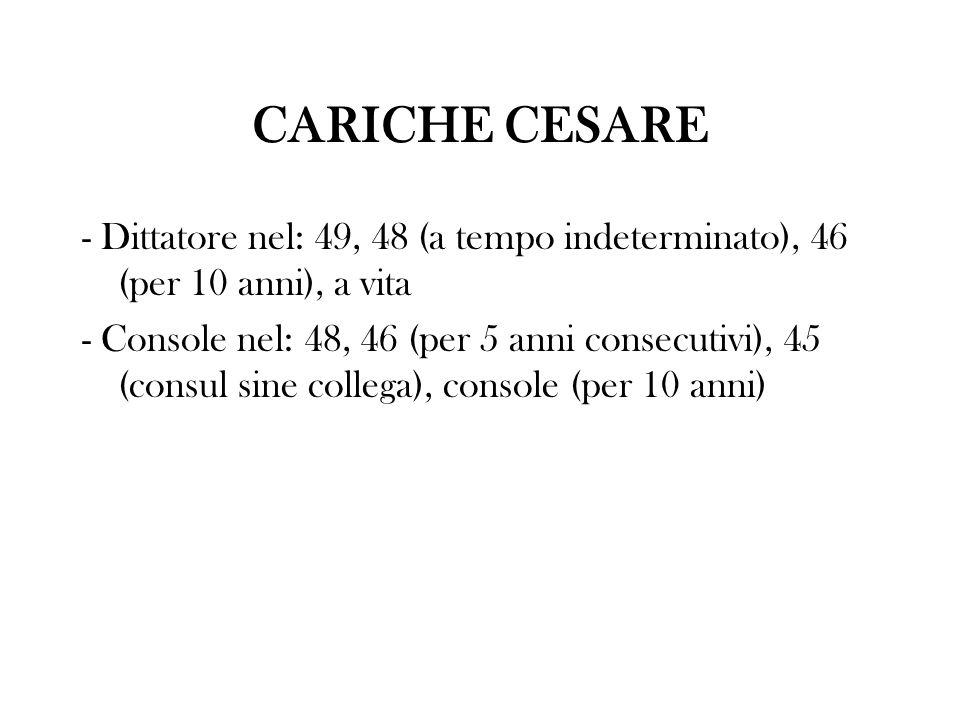 CARICHE CESARE - Dittatore nel: 49, 48 (a tempo indeterminato), 46 (per 10 anni), a vita.