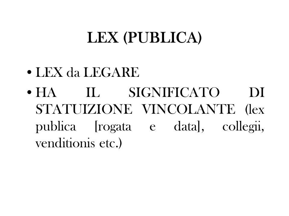 LEX (PUBLICA) LEX da LEGARE