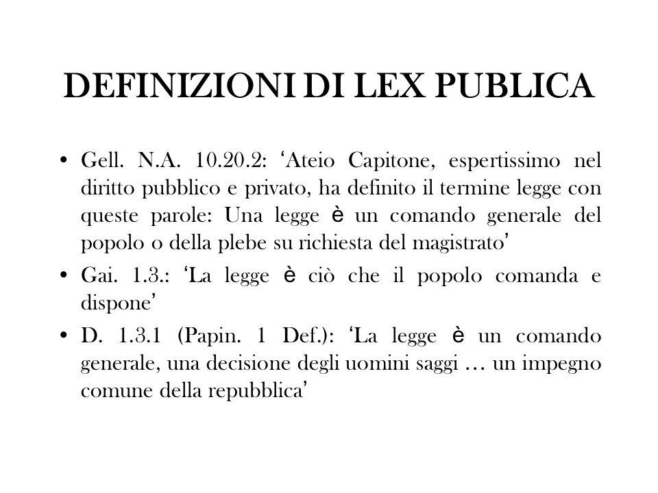 DEFINIZIONI DI LEX PUBLICA