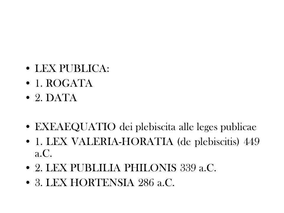 LEX PUBLICA: 1. ROGATA. 2. DATA. EXEAEQUATIO dei plebiscita alle leges publicae. 1. LEX VALERIA-HORATIA (de plebiscitis) 449 a.C.