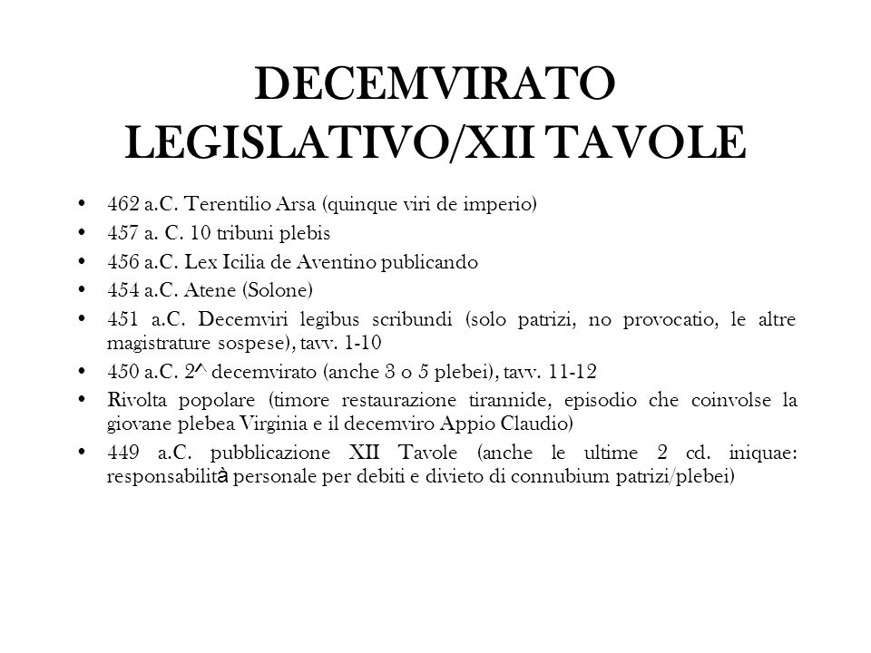 DECEMVIRATO LEGISLATIVO/XII TAVOLE