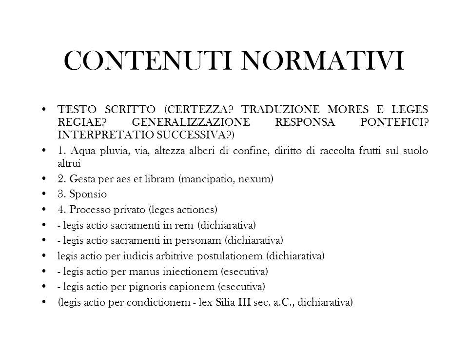 CONTENUTI NORMATIVI TESTO SCRITTO (CERTEZZA TRADUZIONE MORES E LEGES REGIAE GENERALIZZAZIONE RESPONSA PONTEFICI INTERPRETATIO SUCCESSIVA )
