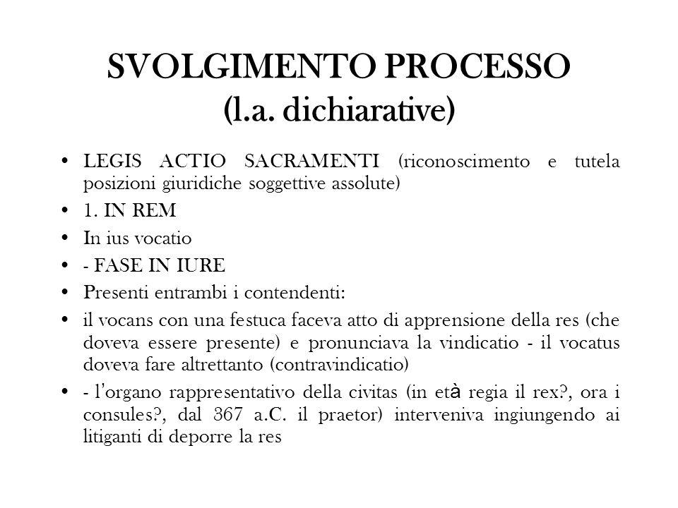 SVOLGIMENTO PROCESSO (l.a. dichiarative)