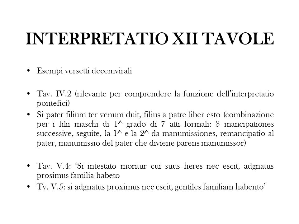 INTERPRETATIO XII TAVOLE