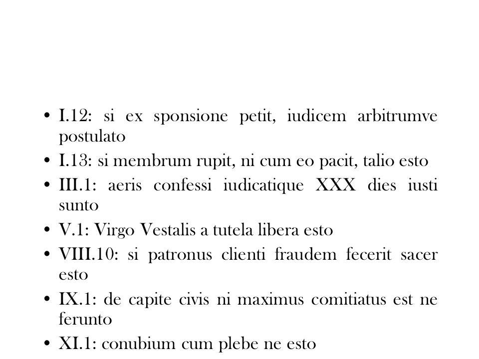 I.12: si ex sponsione petit, iudicem arbitrumve postulato