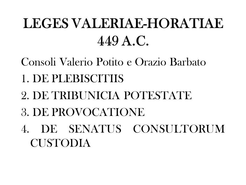 LEGES VALERIAE-HORATIAE 449 A.C.