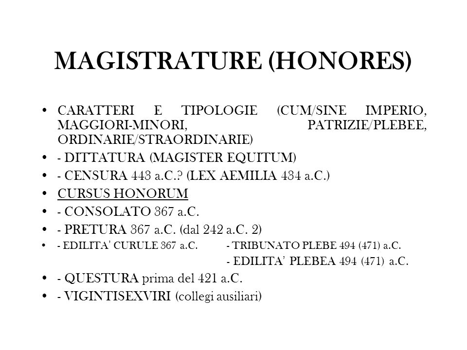 MAGISTRATURE (HONORES)