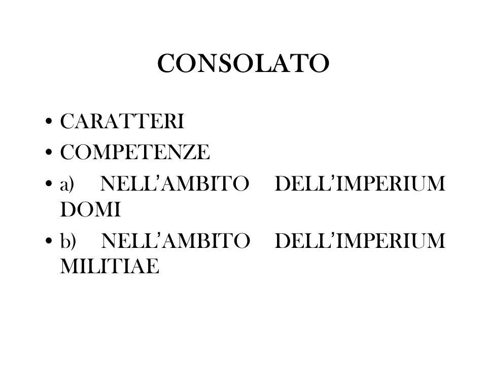 CONSOLATO CARATTERI COMPETENZE a) NELL'AMBITO DELL'IMPERIUM DOMI