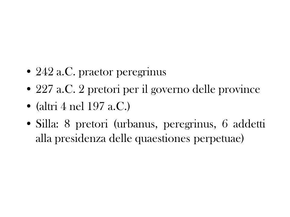 242 a.C. praetor peregrinus 227 a.C. 2 pretori per il governo delle province. (altri 4 nel 197 a.C.)
