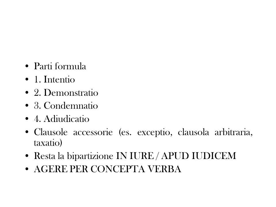 Parti formula 1. Intentio. 2. Demonstratio. 3. Condemnatio. 4. Adiudicatio. Clausole accessorie (es. exceptio, clausola arbitraria, taxatio)