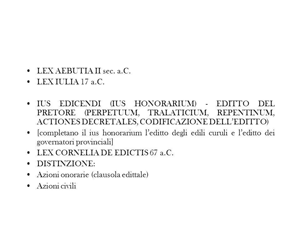 LEX AEBUTIA II sec. a.C. LEX IULIA 17 a.C.