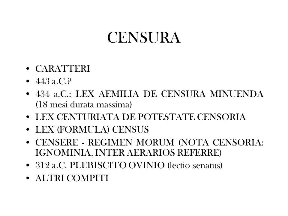 CENSURA CARATTERI. 443 a.C. 434 a.C.: LEX AEMILIA DE CENSURA MINUENDA (18 mesi durata massima) LEX CENTURIATA DE POTESTATE CENSORIA.