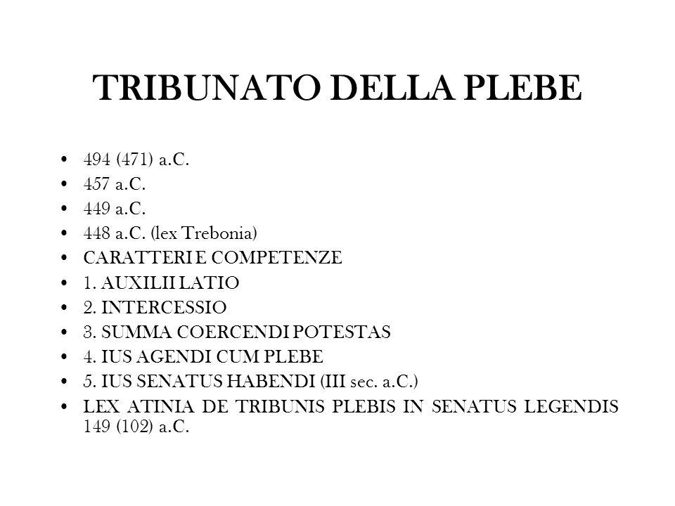 TRIBUNATO DELLA PLEBE 494 (471) a.C. 457 a.C. 449 a.C.