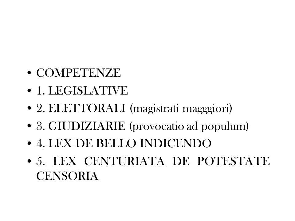 COMPETENZE 1. LEGISLATIVE. 2. ELETTORALI (magistrati magggiori) 3. GIUDIZIARIE (provocatio ad populum)