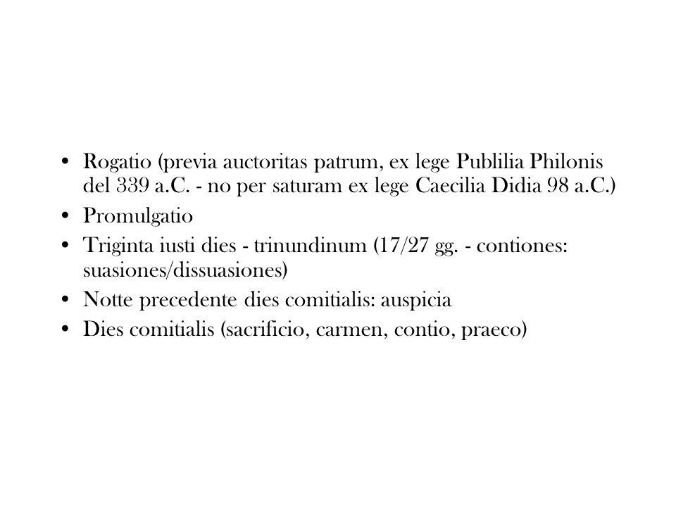Rogatio (previa auctoritas patrum, ex lege Publilia Philonis del 339 a