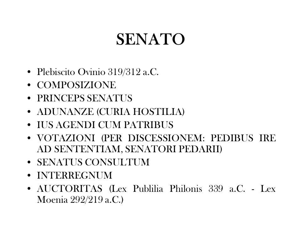 SENATO Plebiscito Ovinio 319/312 a.C. COMPOSIZIONE PRINCEPS SENATUS