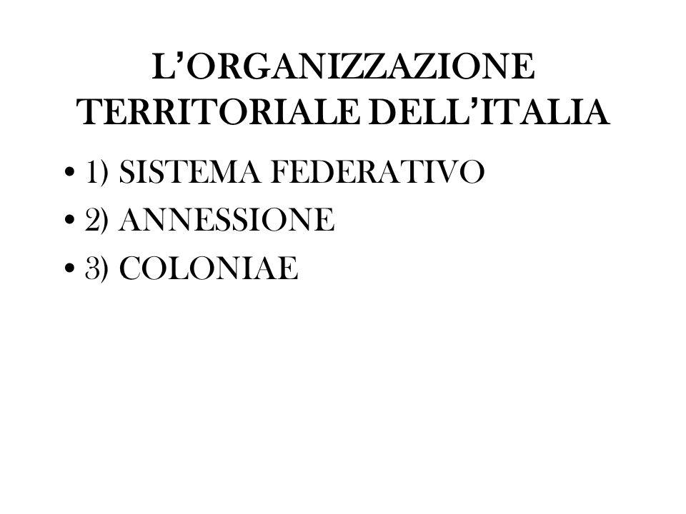 L'ORGANIZZAZIONE TERRITORIALE DELL'ITALIA