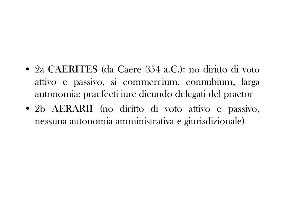 2a CAERITES (da Caere 354 a.C.): no diritto di voto attivo e passivo, si commercium, connubium, larga autonomia: praefecti iure dicundo delegati del praetor