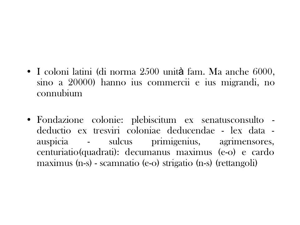 I coloni latini (di norma 2500 unità fam