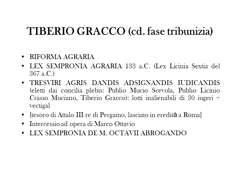 TIBERIO GRACCO (cd. fase tribunizia)