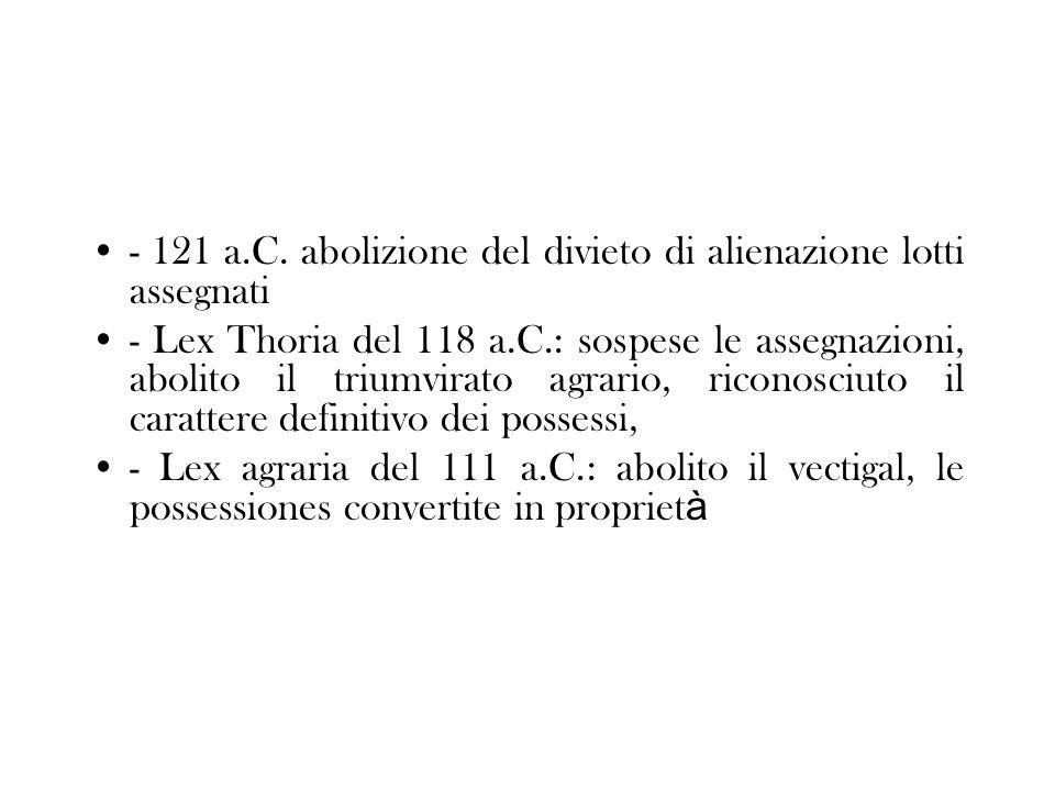 - 121 a.C. abolizione del divieto di alienazione lotti assegnati