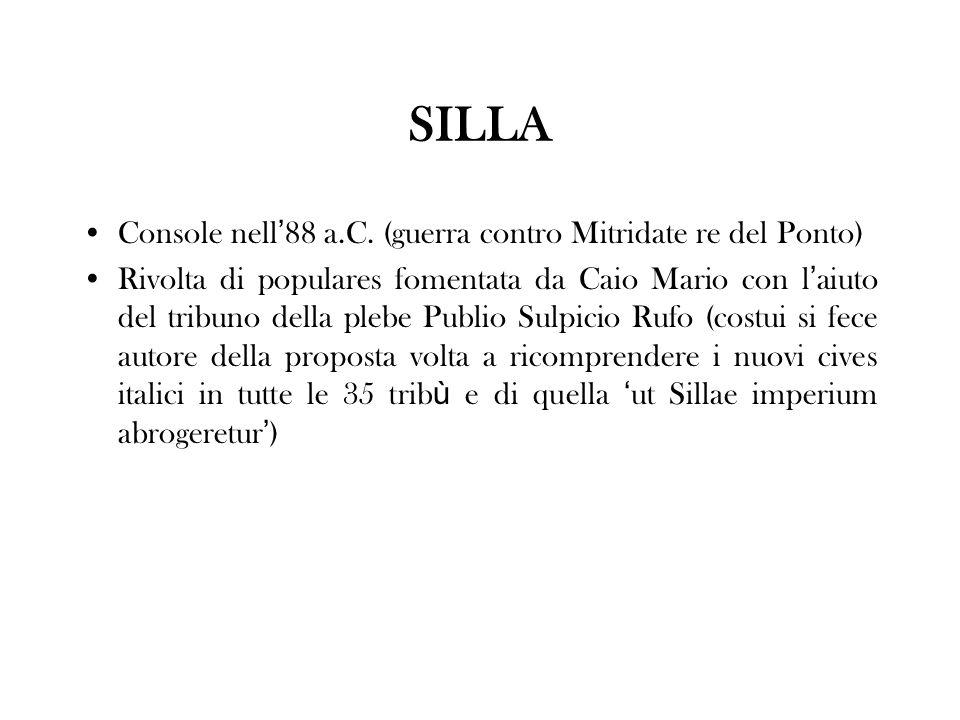 SILLA Console nell'88 a.C. (guerra contro Mitridate re del Ponto)