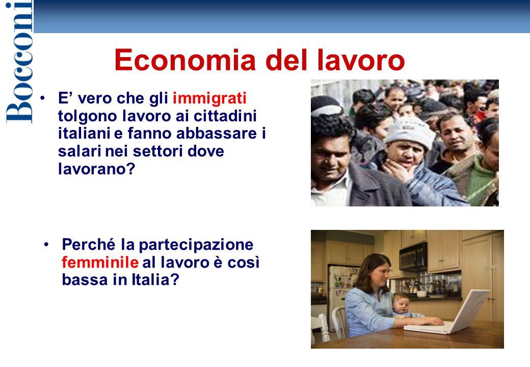 Economia del lavoro E' vero che gli immigrati tolgono lavoro ai cittadini italiani e fanno abbassare i salari nei settori dove lavorano