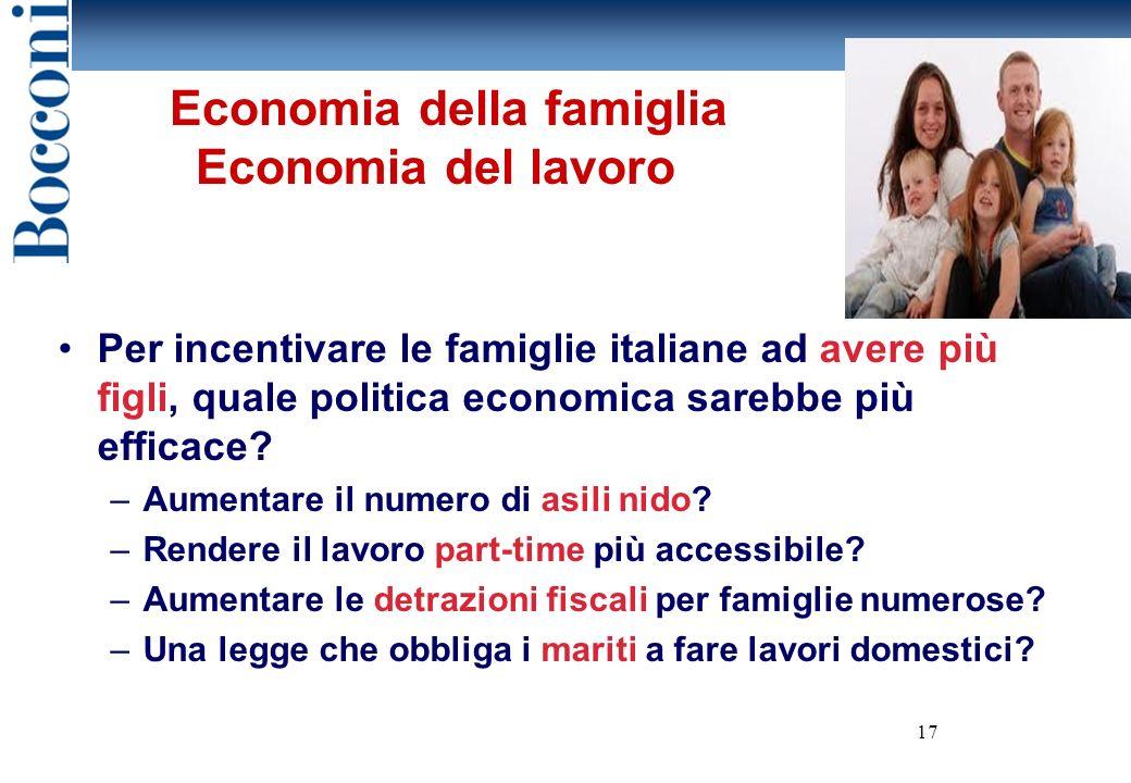Economia della famiglia Economia del lavoro