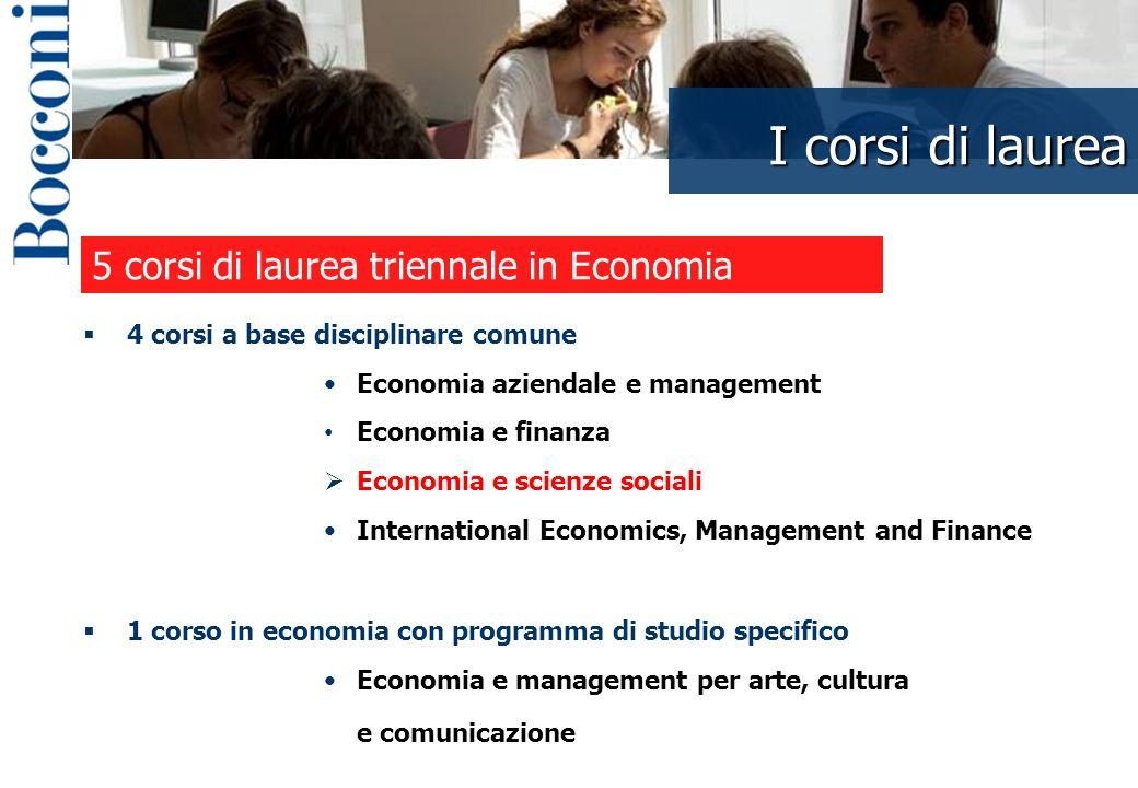 I corsi di laurea I corsi di laurea in economia