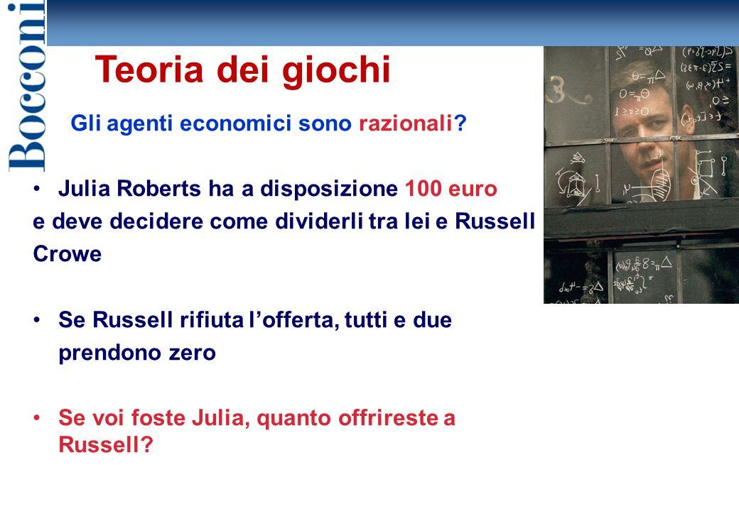 Teoria dei giochi Gli agenti economici sono razionali