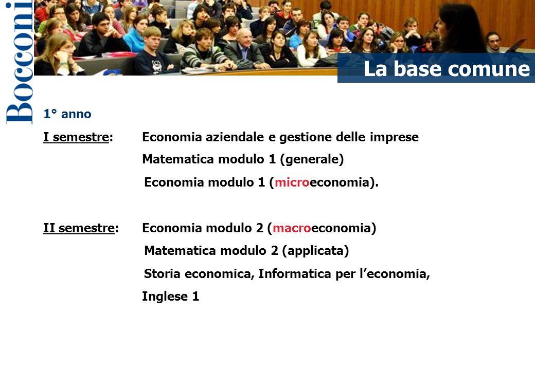 La base comune I contenuti del corso 1° anno
