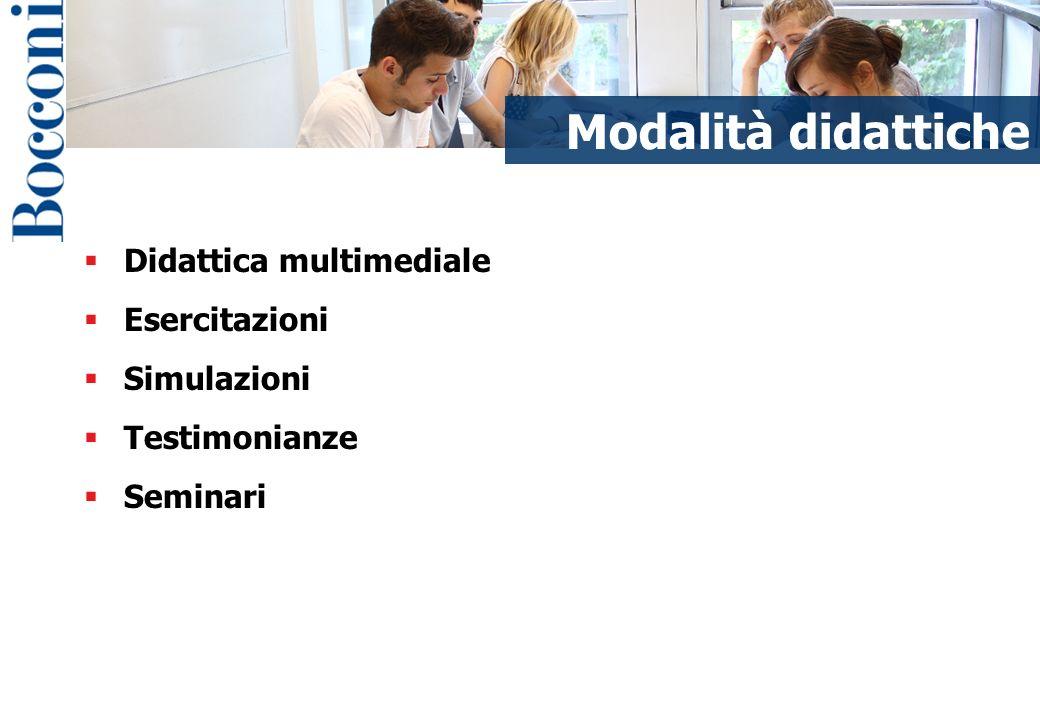 Modalità didattiche Didattica multimediale Esercitazioni Simulazioni