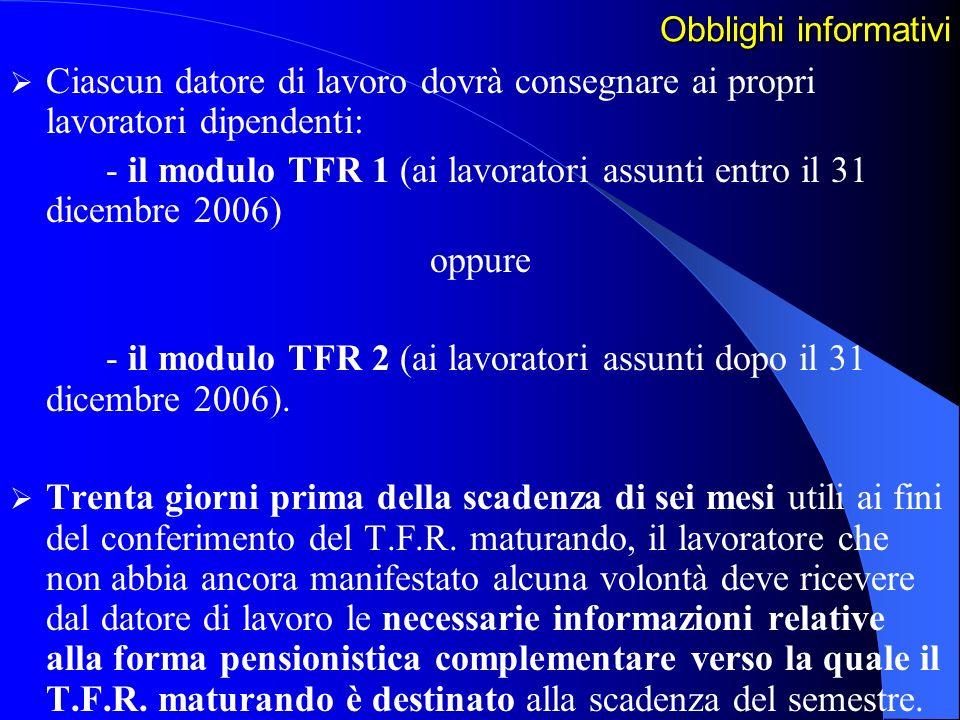 - il modulo TFR 1 (ai lavoratori assunti entro il 31 dicembre 2006)