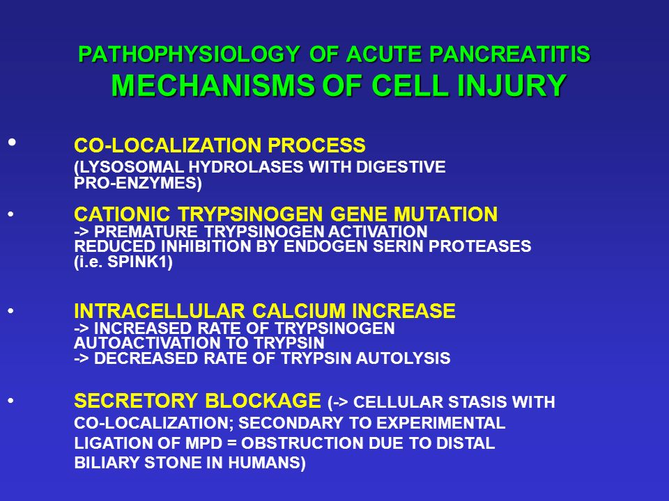PATHOPHYSIOLOGY OF ACUTE PANCREATITIS MECHANISMS OF CELL INJURY