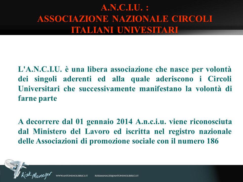 A.N.C.I.U. : ASSOCIAZIONE NAZIONALE CIRCOLI ITALIANI UNIVESITARI
