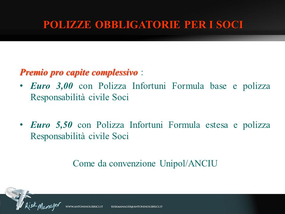 POLIZZE OBBLIGATORIE PER I SOCI