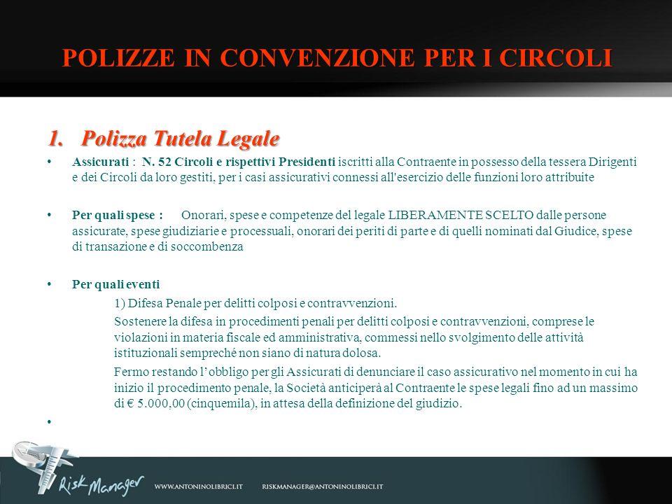 POLIZZE IN CONVENZIONE PER I CIRCOLI
