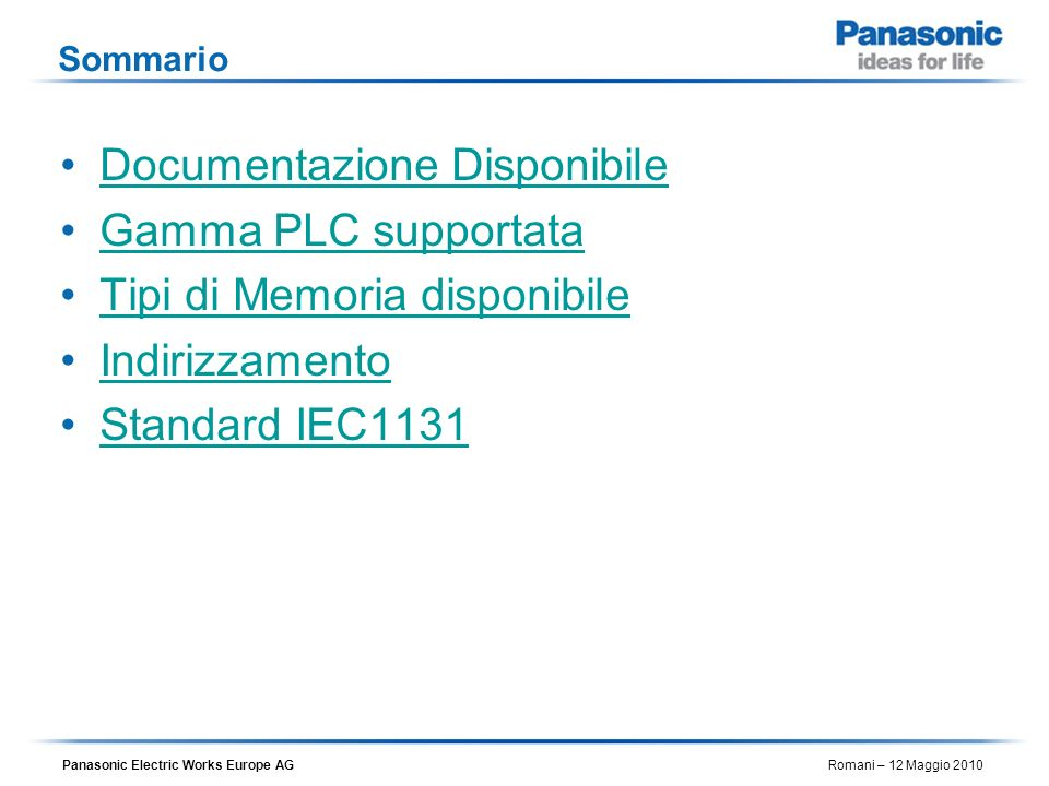Documentazione Disponibile Gamma PLC supportata