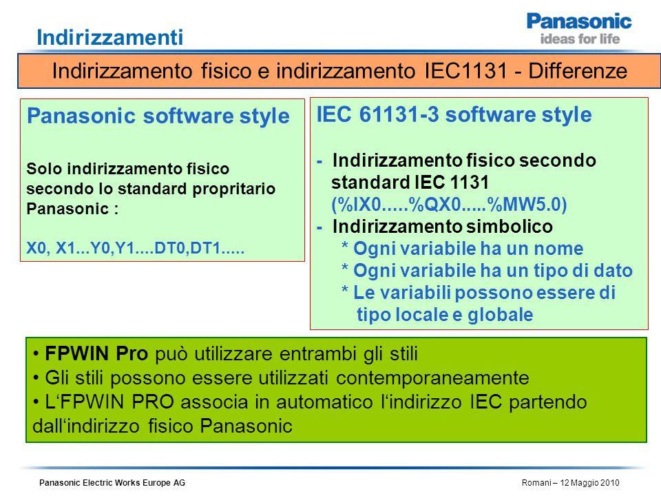 Indirizzamento fisico e indirizzamento IEC1131 - Differenze