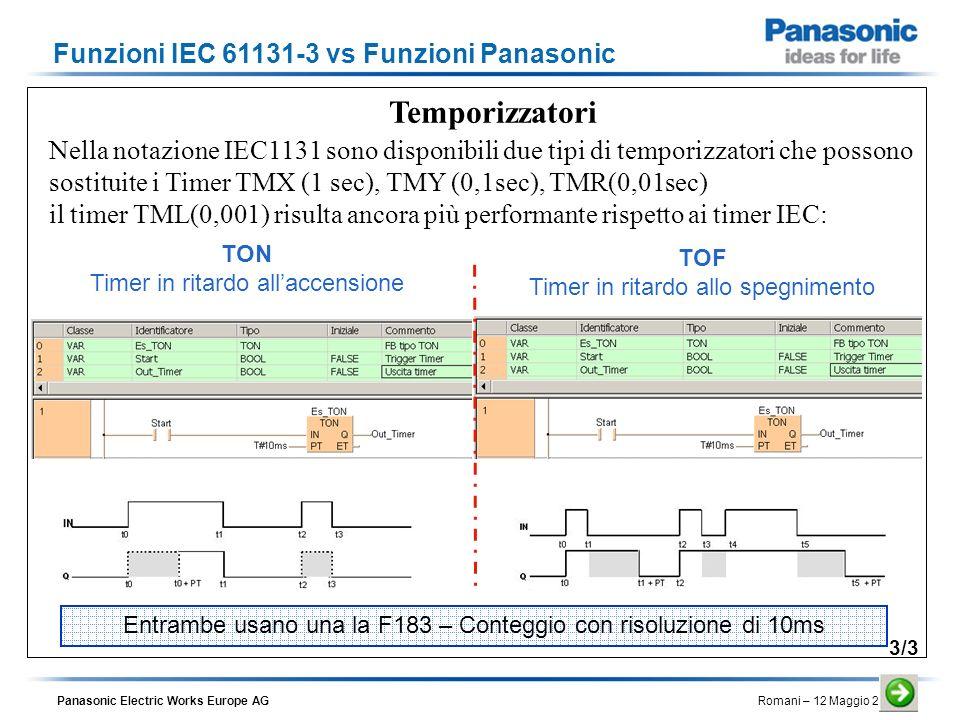 Temporizzatori Funzioni IEC 61131-3 vs Funzioni Panasonic