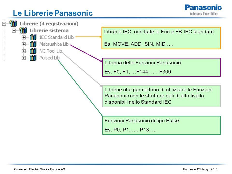 Le Librerie PanasonicLibrerie IEC, con tutte le Fun e FB IEC standard Es. MOVE, ADD, SIN, MID …. Libreria delle Funzioni Panasonic.