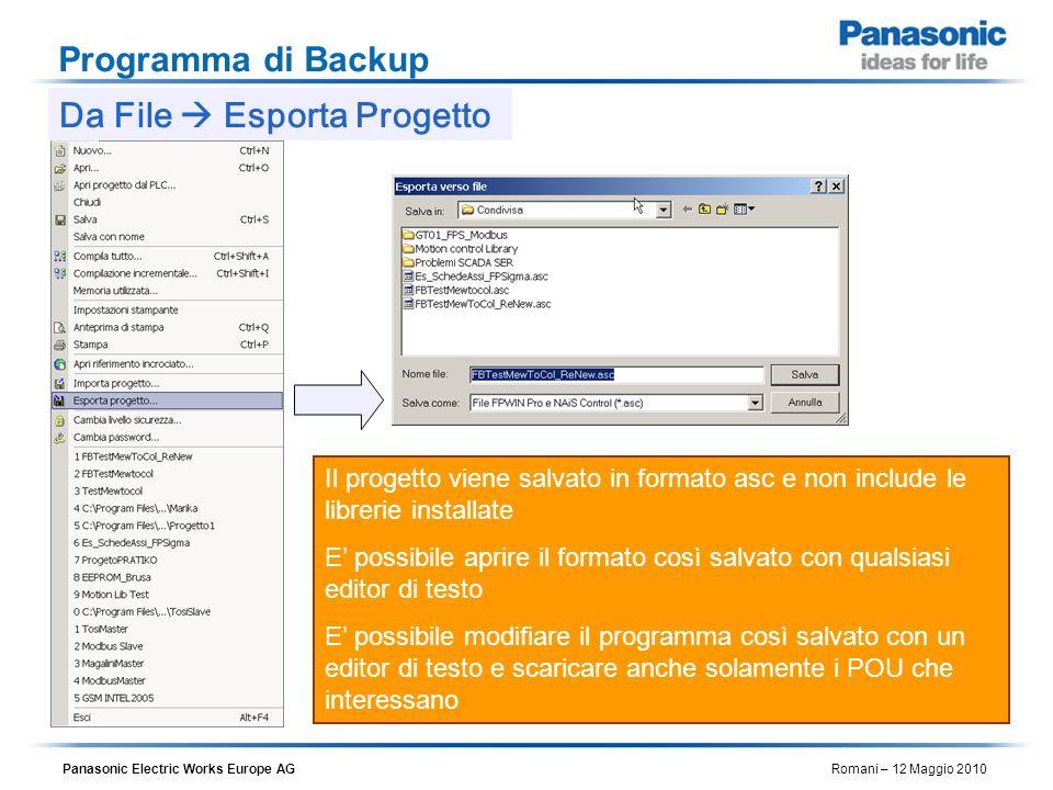 Da File  Esporta Progetto