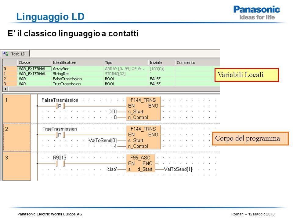 Linguaggio LD E' il classico linguaggio a contatti Variabili Locali